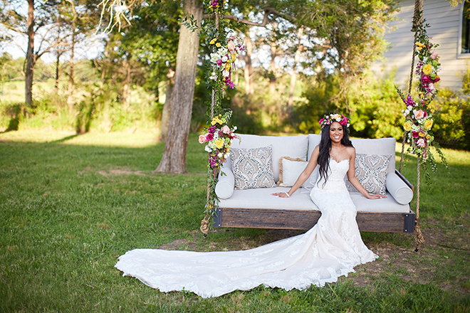 boho chic wedding by plants n' petals, texas wedding, vineyard, plants n' petals, cafe natalie, parvani vida bridal & formal, pine forest country club, bright flowers, bridal photography, swing, flower crown