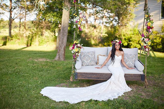 boho chic wedding by plants n' petals, texas wedding, vineyard, plants n' petals, cafe natalie, parvani vida bridal & formal, pine forest country club, bright flowers, bridal photography, swing, flower crown
