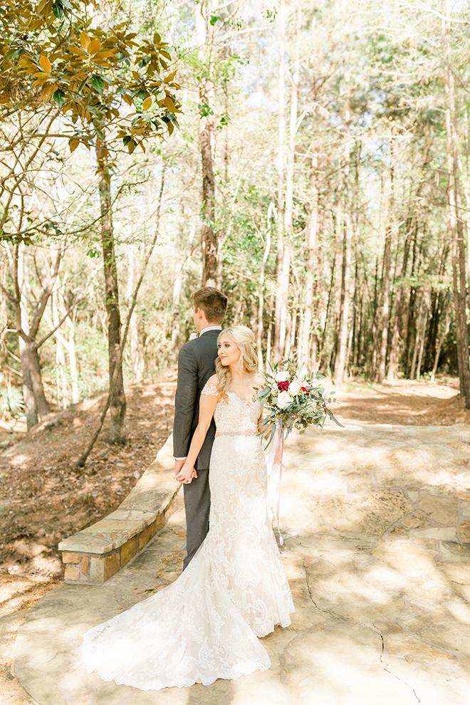 texas barn wedding first look photo bride groom