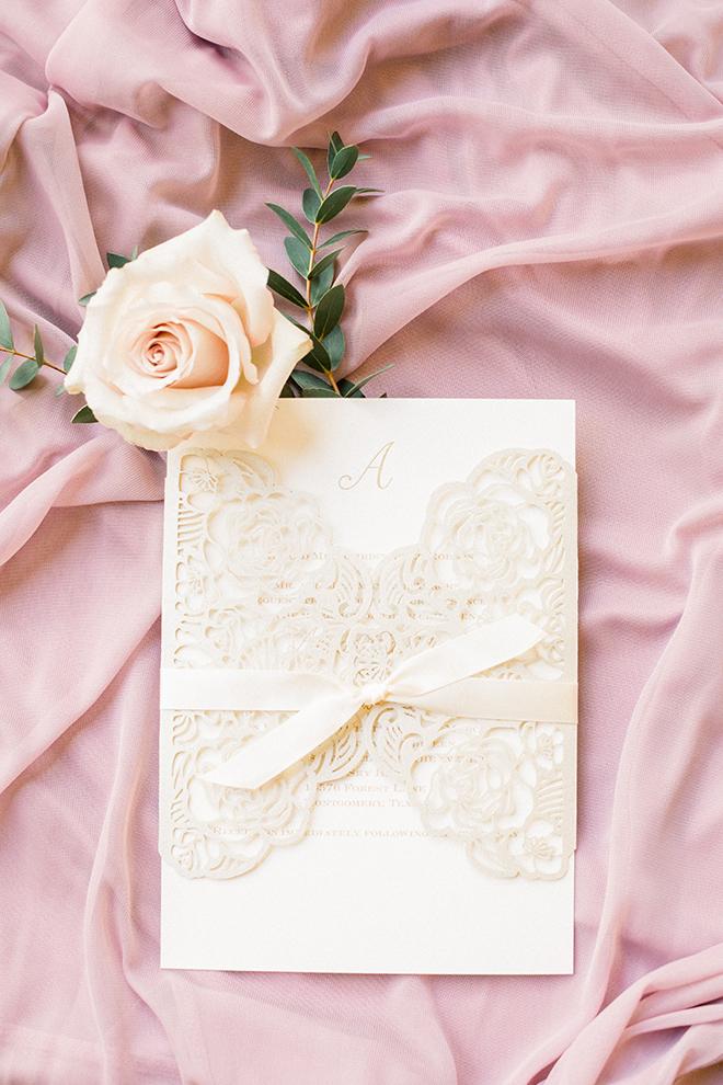 texas barn wedding invitation pink cream lace