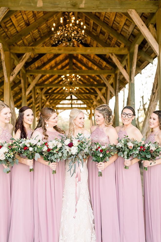 Texas barn wedding pink bridesmaids white greenery rustic bridge bridal party