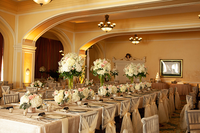 hotel galvez wedding music hall classic ivory blush gold