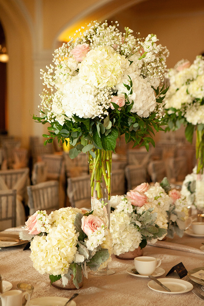 hotel galvez wedding tall centerpiece hydrangea ivory blush gold