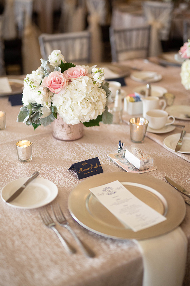 hotel galvez wedding place setting gold white pink