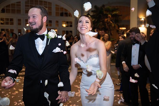hotel galvez wedding exit confetti