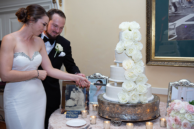 hotel galvez wedding white cake silver flowers