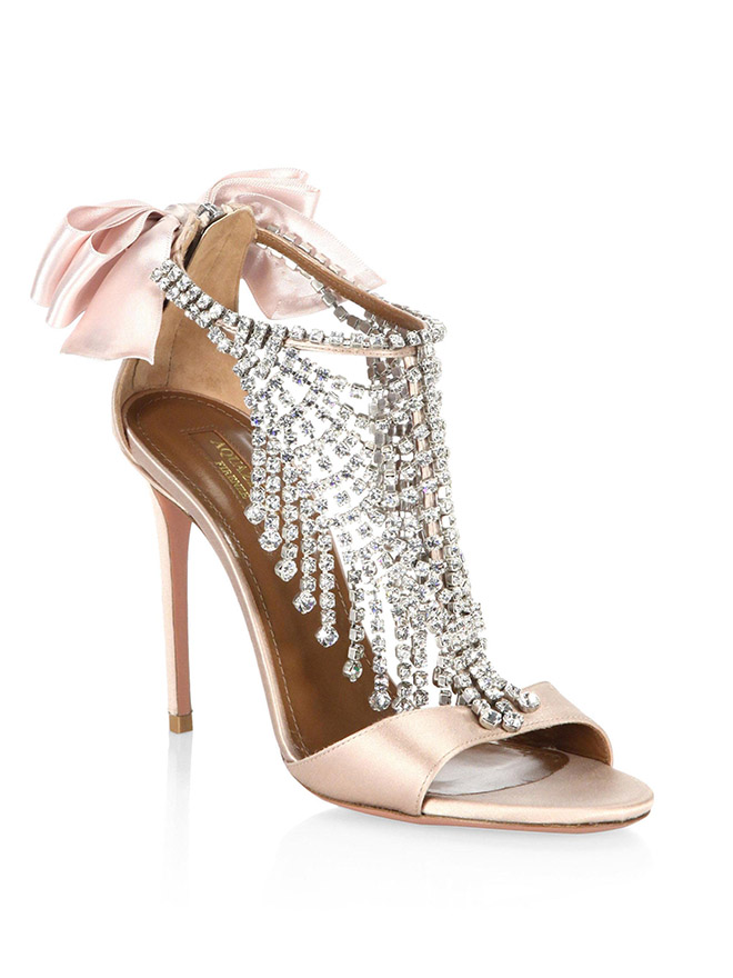 sparkly bridal shoes aquazzura blush fifth avenue crystal bow rhinestones sandal
