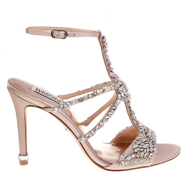 Badgley Mischka hughes embellished sandal bridal bridesmaid shoe wedding blush pink crystals