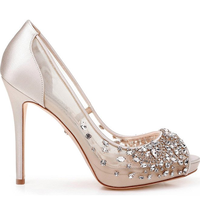 Badgley Mischka peep toe glitter crystal high heel sparkly bridal pump shoe