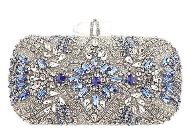 Gelsey blue crystal clutch minaudiere handbag bridal bride wedding bag evening