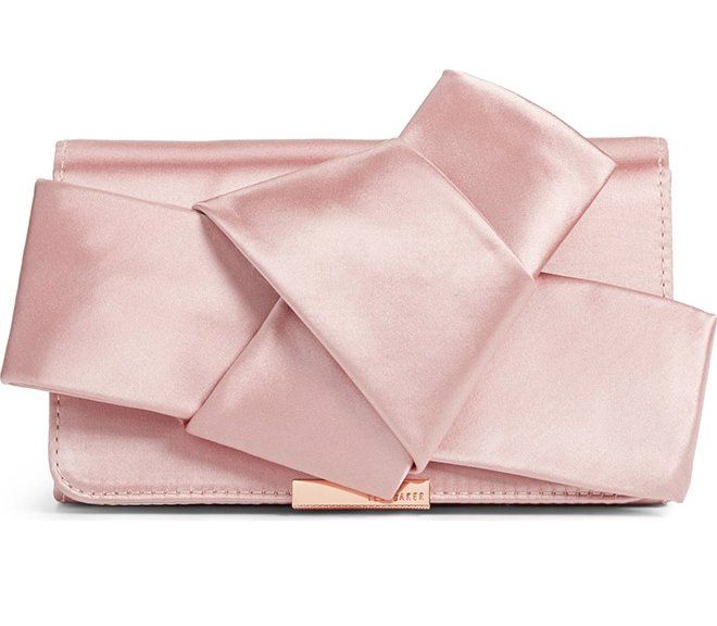 Ted Baker knotted pink satin bow clutch evening bridal bridesmaid handbag bag