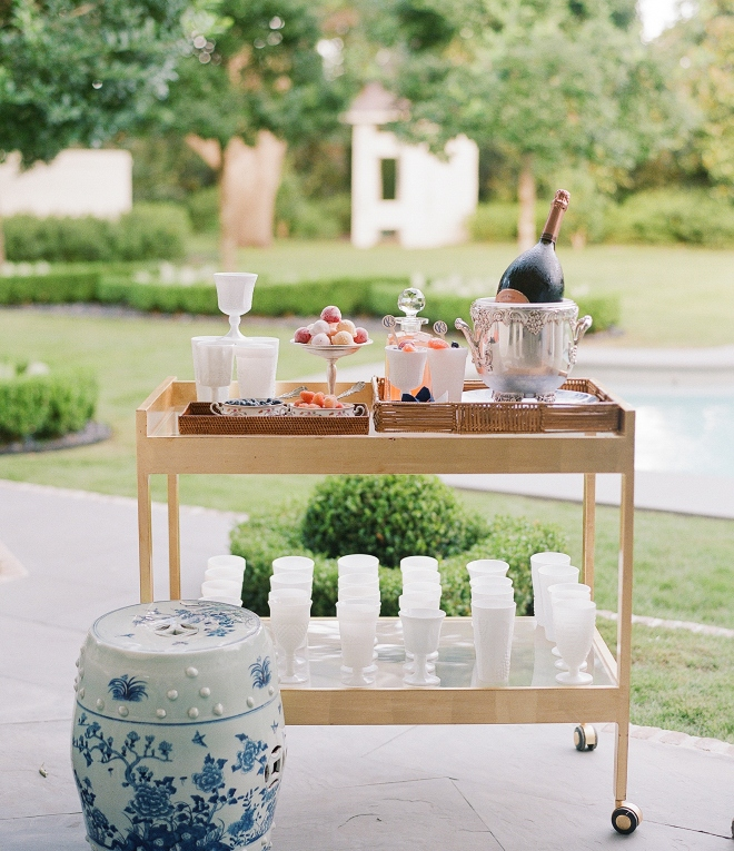 indoor outdoor houston wedding bar cart champagne reception todd events
