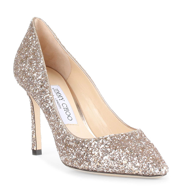 jimmy choo romy glitter pump shoe heel bride sparkly bridal shoes