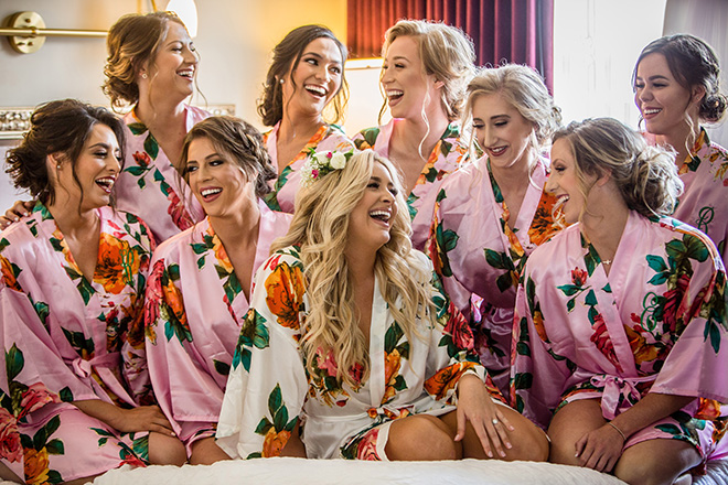 classic white wedding bridesmaids floral kimonos robes getting ready