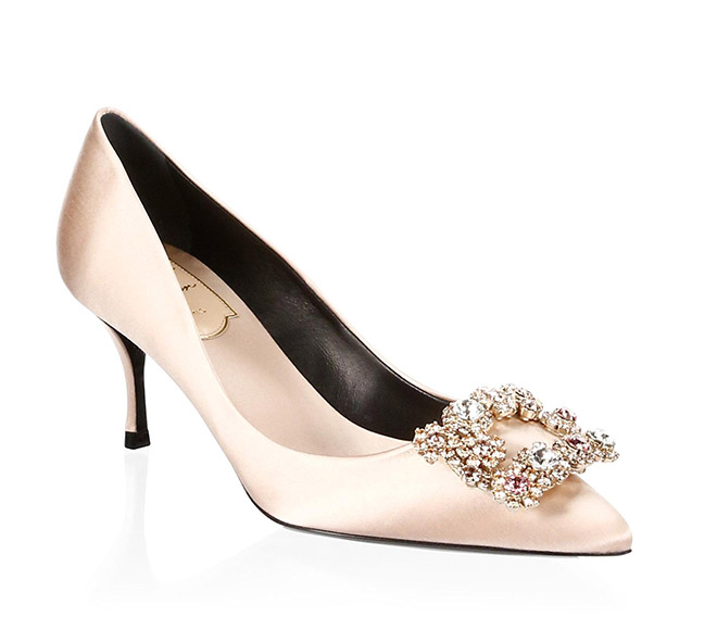 Roger Vivier crystal embellished pointy tow low heel satin bridal pump crystal toe clip