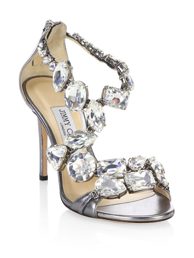 jimmy choo steel crystal karima jewel sandal sparkly bridal shoes