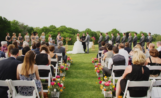 hill country weddings austin outdoor ceremony lawn forest views
