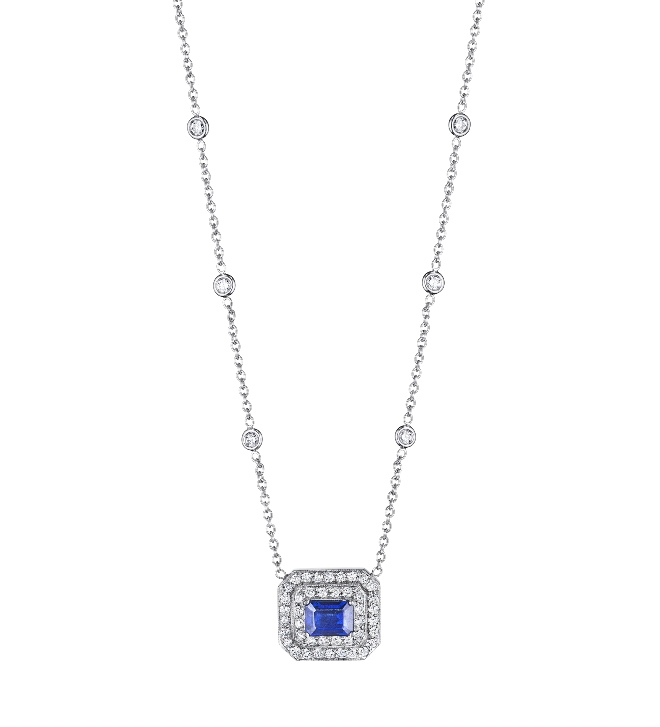 blue sapphire diamond pendant necklace Bailey Banks And Biddle penny preville bridal jewelry houston jeweler
