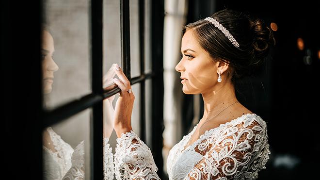 houston bride sustainable wedding lace dress updo