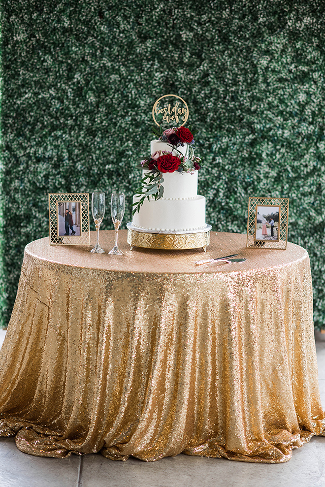 gold sequin cake table susie's cakes waters edge venue lake houston
