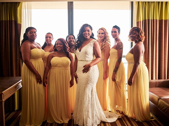 bridesmaids yellow dresses black african american bride galveston wedding