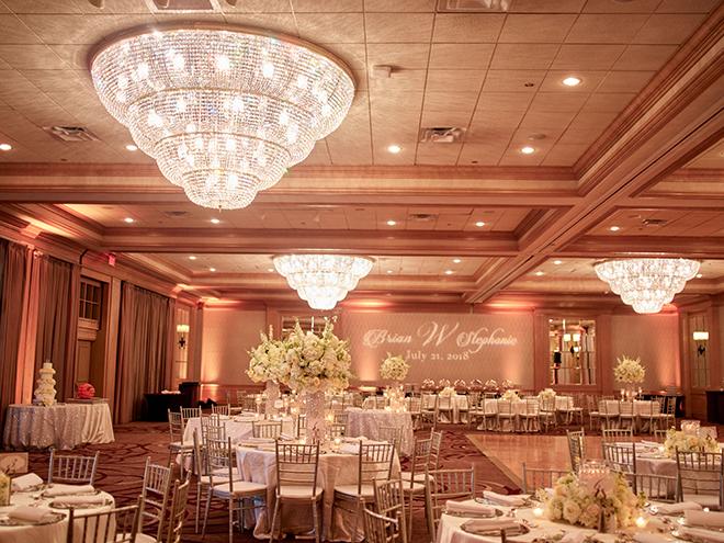 galveston wedding ballroom crystal chandeliers summer indoor reception