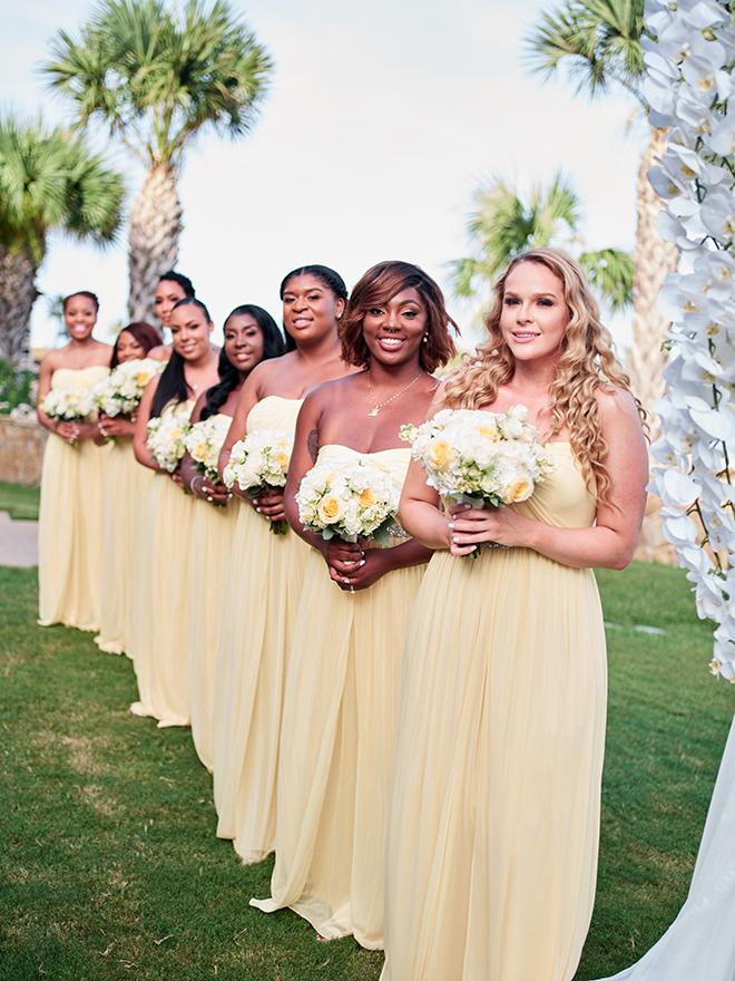galveston wedding bridesmaids yellow dresses outdoor ceremony civic photos