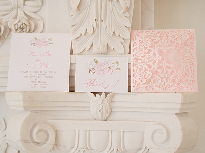 white pink ivory wedding invitation