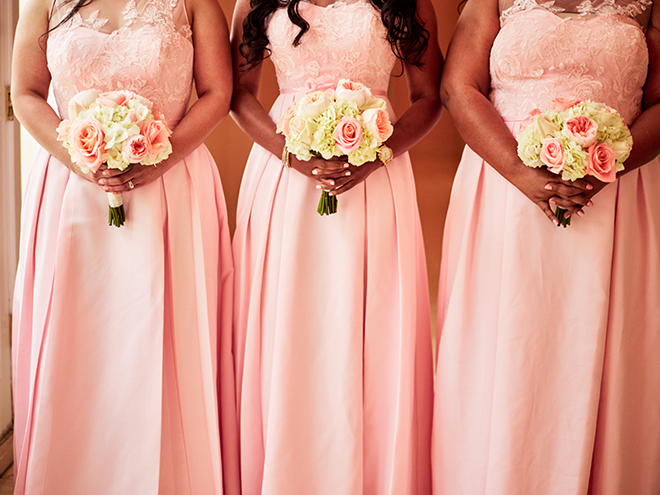peach coral pink bridesmaids long dresses black african american