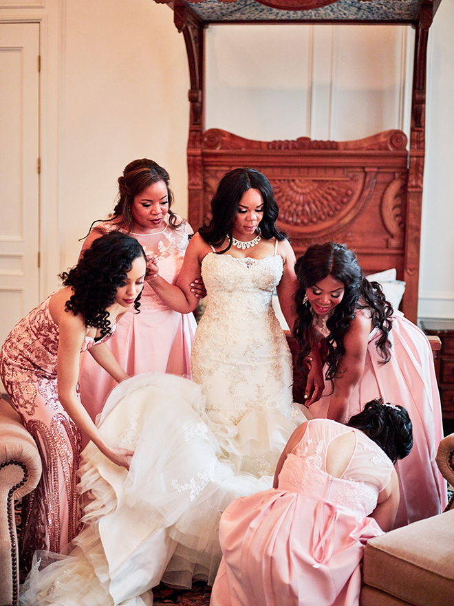 pink peach coral bridal party mix match dresses houston wedding