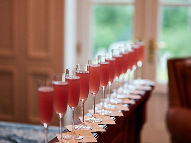 blushing bride champagne cocktails wedding houston