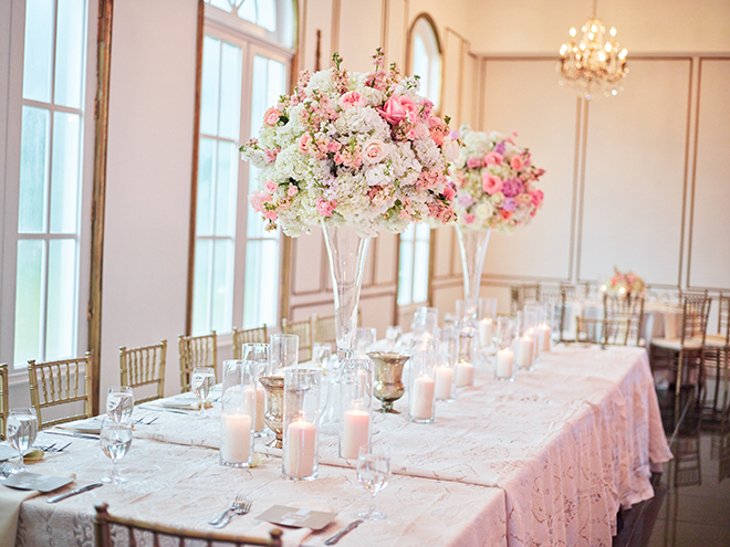 pink white blush tall wedding centerpiece flowers plants n petals houston