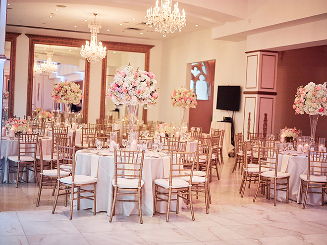 pink white gold wedding chateau cocomar plants n petals houston