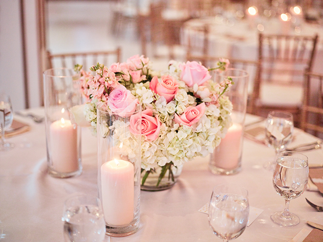 small centerpiece rose hydrangea pink blush white plants petals houston