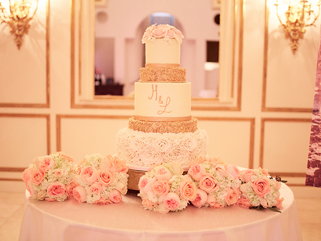 pink blush gold wedding cake cakes by gina houston texas