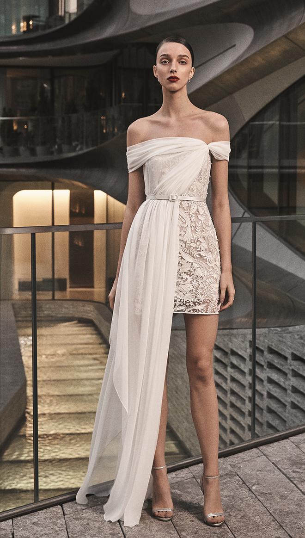 Naeem Khan Short Wedding Gown - Available in Houston at Joan Pillow Bridal Salon