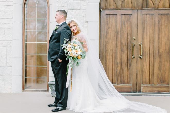 white green and gold winter wedding ashton gardens houston wedding venue forest chapel bride groom