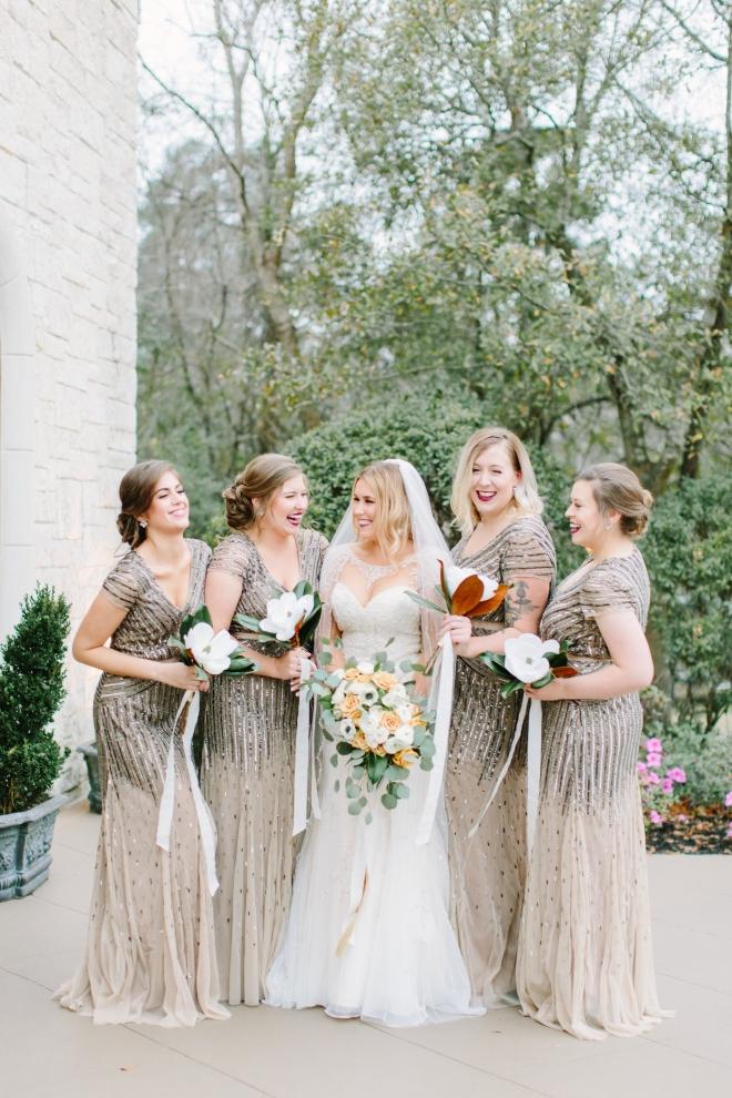 gold winter wedding ashton gardens houston venue bella bridesmaids deco dresses beaded blush nude