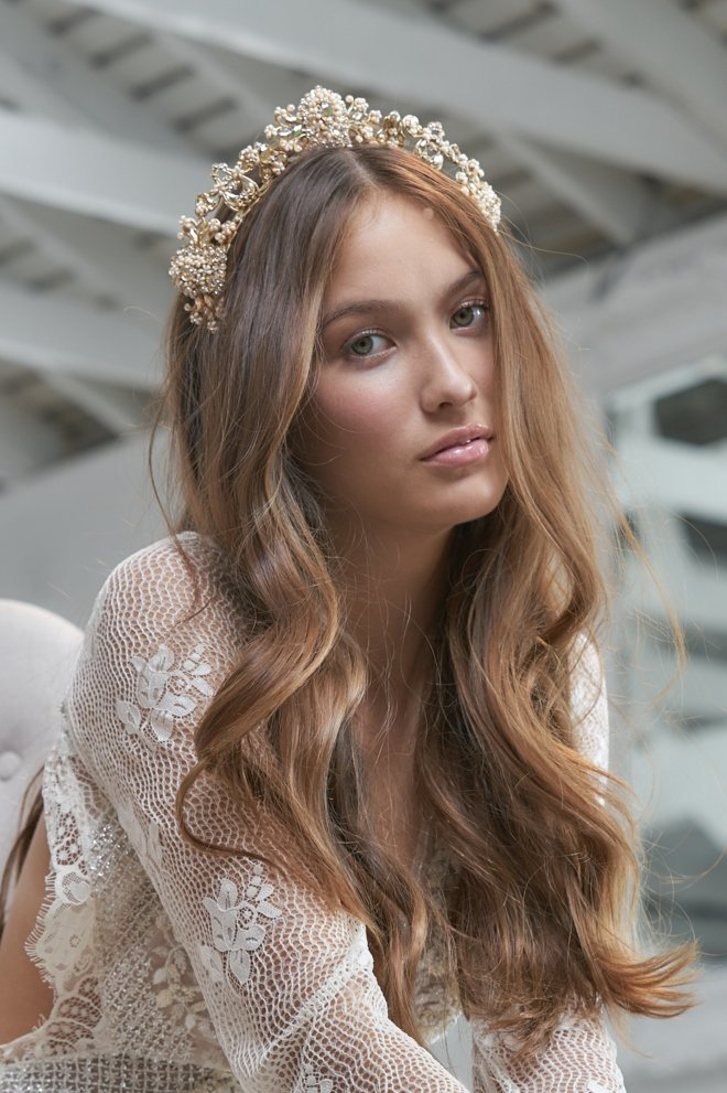 maria elena accessories trunk show joan pillow bridal hair headpieces tiara crown halo long hair down boho