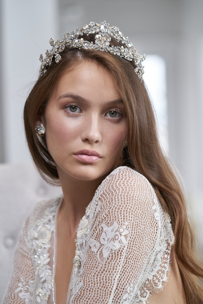 maria elena accessories houston trunk show joan pillow bridal crown tiara long hair down