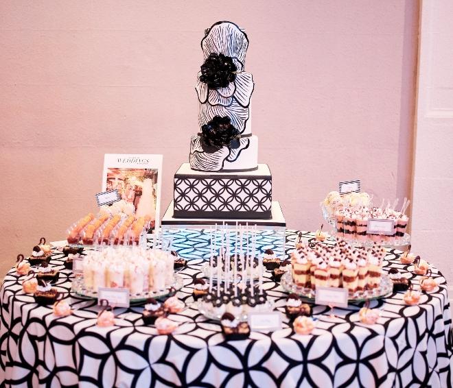 i do soiree photos houston wedding cake gina black white