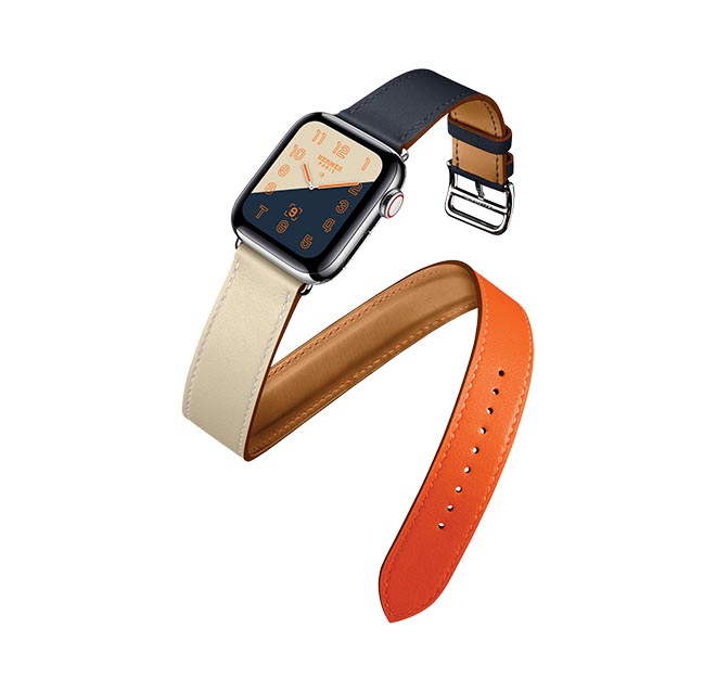 Wedding registry health fitness gifts Hermes 400 Series Apple Watch Orange and Blue