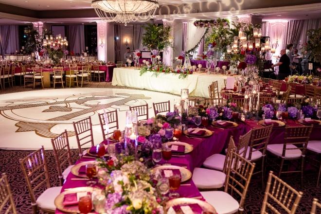 pakistani indian wedding hotel zaza purple pink green raofactor florist designer decor