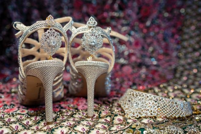 hindu-muslim wedding houston bride jeweled sandals lehenga