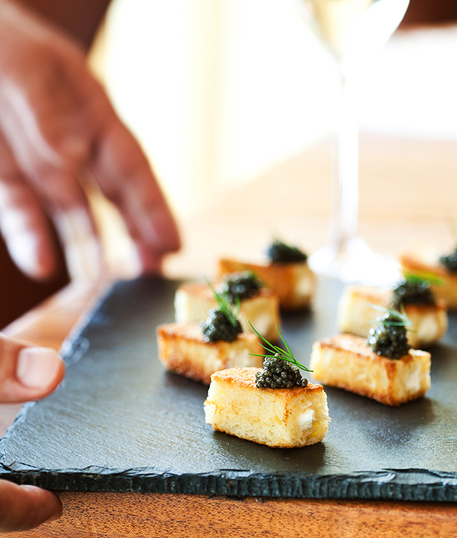 Caviar and marscapone appetizer twinkie - Churrasco's by Cordua Catering
