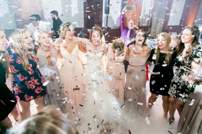 LG Event Entertainment wedding reception bride bridesmaids confetti dance floor