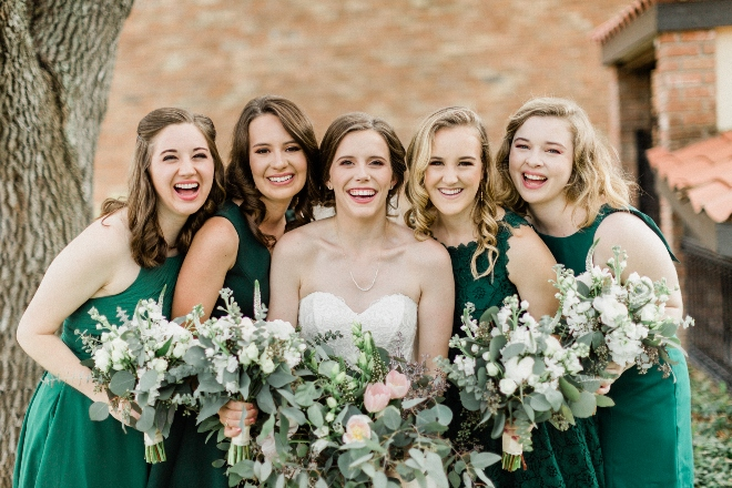 green blush and ivory wedding the gallery houston texas venue brick wall bridesmaids photo green dresses
