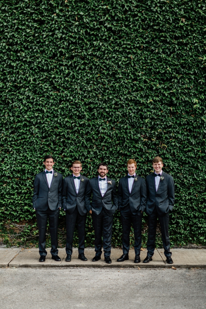 green blush and ivory wedding the gallery houston texas ivy wall groom groomsmen