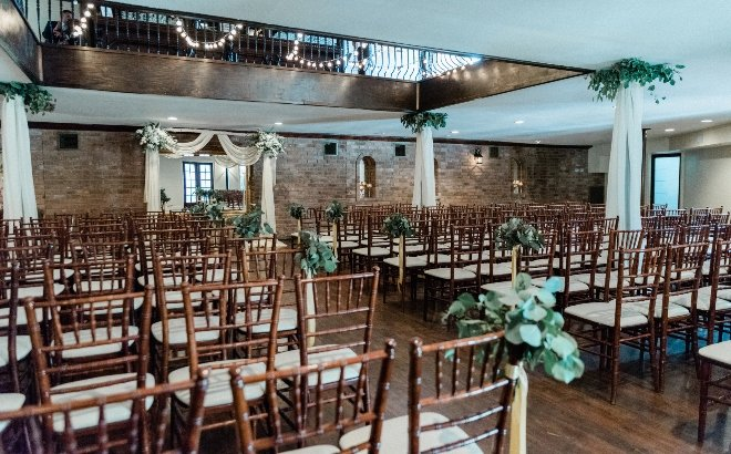 green blush and ivory wedding the gallery houston texas indoor ceremony setup altar chiavari draping rustic elegant