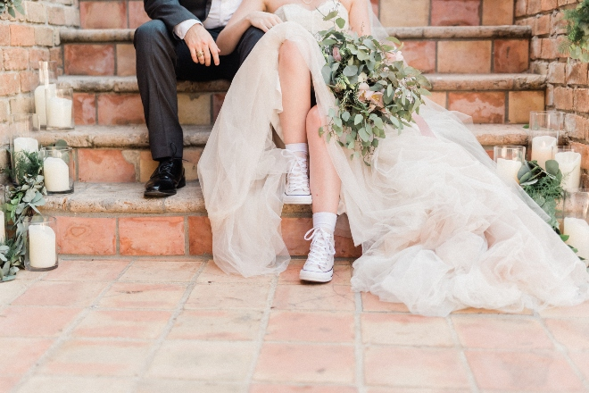 green blush and ivory wedding the gallery houston texas bride groom sneakers gown converse